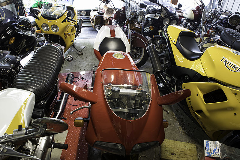 Shed with motorcycles